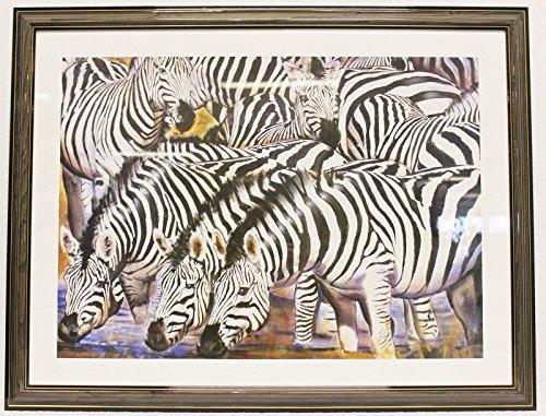 GALERIEQUALITÄT Kunstdruck gerahmt Zebra Herde 69x86 cm Bild + Rahmen