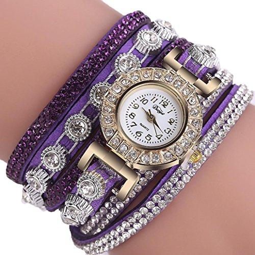 Uhren, Voberry Frauen Damen Mode lässig Analog Quarz Frauen Strass Armband Uhr Charm Geschenk (Dunkel violett) Damen-uhren Mit Dunklem Gesicht