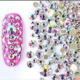 ICYCHEER - Gemas redondas de cristal AB de resina de 2 mm a 6 mm, 300 piezas, decoración de uñas 3D