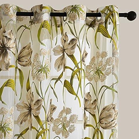 Top Finel simple cortina transparente de paneles para la ventana de concina,sala de estar,dormitorio,visillo con pintura de Flor silvestre,140 cm anchura por 215 cm longitud,con ojales,solo