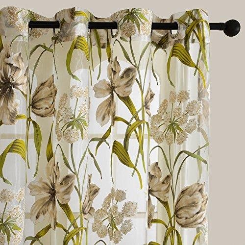 Top Finel Concise stampato Wildflower Voile Poliestere Stampato Tenda con occhielli,195 x 245 cm, 1 pezzo