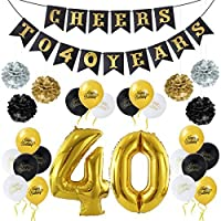 """Unomor 40th Birthday Decoration Party Supplies, Including """"CHEERS TO 40 YEARS"""" Banner, Gold Foil Balloons,18PCS Balloons, 6 PC Paper Flowers Ball and 1 Roll Gold Ribbon"""