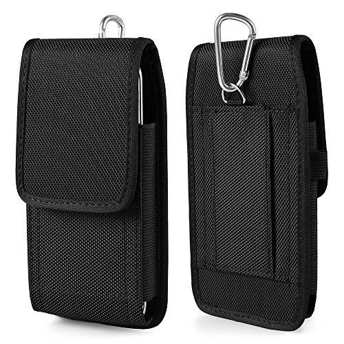 ebuymore Premium Nylon Vertikal Holster Schutzhülle Gürteltasche für iPhone 7/6S/Samsung Galaxy J1Mini Prime/Galaxy A3/Z2/LG Escape 3/LG K3/LG Tribute HD/Blu Advanced 4.0m T-mobile Carbon