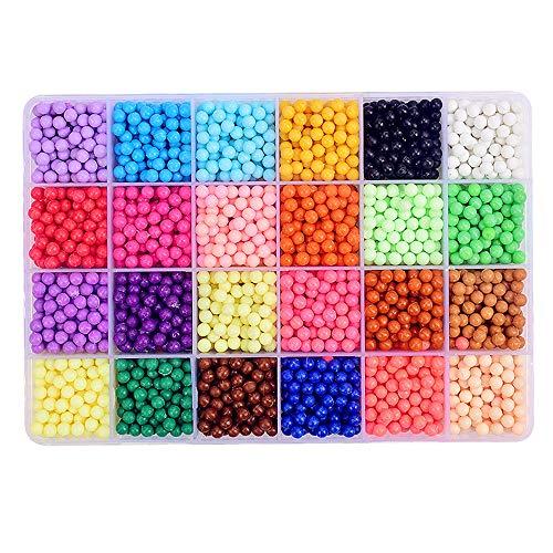 Abalorios Cuentas de Agua, Aqua Beads 24 colors 4000 perlas en Caja de Almacenamiento de Plástico con Herramientas para Niños DIY Elaboración Educativo Juguetes
