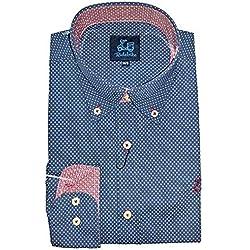 Ridebike Camisa azul con topitos blancos la vespa   custom fit   Diseño del puño a juego con el cuello (S)