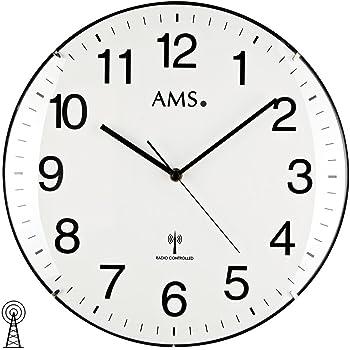 Ams f5960 radio horloge murale bois multicolore 34 x 34 x 7 cm cuisine maison for Horloge murale multicolore