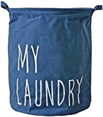 Linen Cotton Laundry Basket by House of Quirk My Laundry Pattern Dirty Clothes Storage Bag(36x36x42cm)