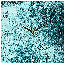 Patricia Sanders Turquoise Peacock Art Wall Clock, 10 by 10-Inch