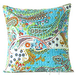 "EYES OF INDIA - 16"" BLUE KANTHA DECORATIVE THROW COUCH PILLOW CUSHION COVER Indian Boho Decor"