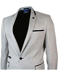 Mens Cream Blazer Jacket Black Velvet Trim 1 Button Fitted Smart Casual Retro
