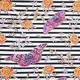 Pepelinchen Baumwolljersey Blumen und Schmetterlinge auf