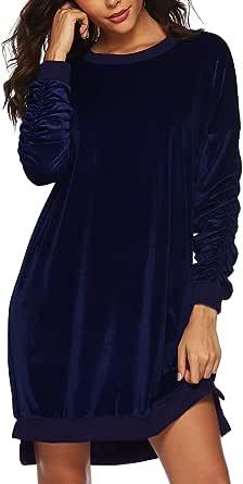 Auxo Donna Camicia Pullover Maglia Elegante Maniche Lunghe Casual Tasca Loose Autunno Knit