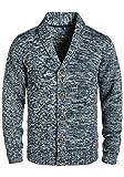 BLEND Tigre Herren Strickjacke Cardigan mit Schalkragen aus hochwertiger Baumwollmischung Meliert, Größe:M, Farbe:Navy (70230)