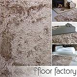 floor factory Hochflor Shaggy Teppich Prestige hellbraun 80x150 cm - superweicher flauschiger Langflor Teppich