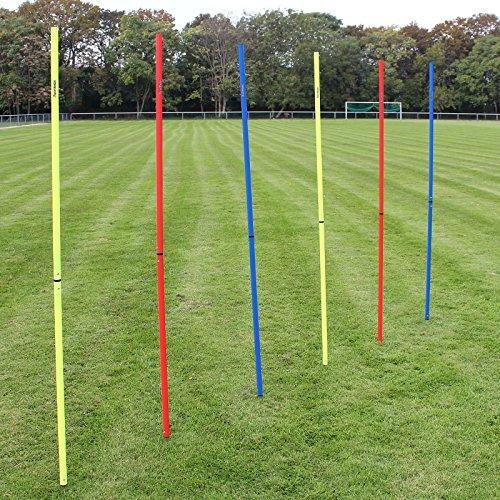 Superspieler24 5 x Slalomstange 180 cm mit ø 25 mm, für Fußball-Training (blau)