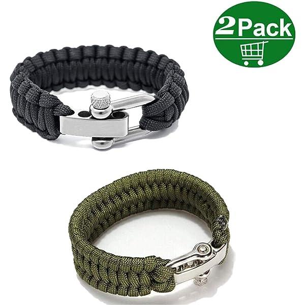 Paracord Survival Rope Bracelet Camping Hiking Friendship Steel Buckle