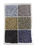 #10: eshoppee 2mm (11/0) 300 gm glass beads, seed beads for jewelery making art and craft diy project kit (11/0 black)