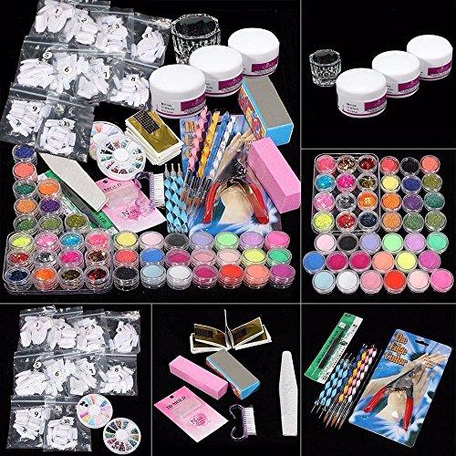 Yogogo 42 Acrylnagel Kunst Spitzen Powder Liquid Pinsel Glitter Clipper Primer Datei Set Kit - Datei Set