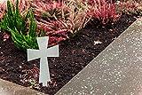 Tuneon Grabkreuz aus Edelstahl Grabschmuck Grabdeko mit Bodenstecker Modell 1