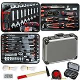 TecTake 500 teiliger Werkzeugkoffer mit 4 Fächern mit Werkzeug bestückt