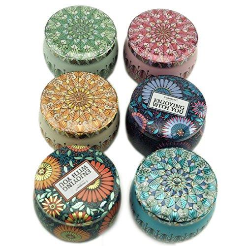 Home Vorratsdosen Colorful Dosen rund Metall Dosen DIY Kerzenherstellung Kit Kunst Sammlerstücke Vorratsdose mit lid-set von 6