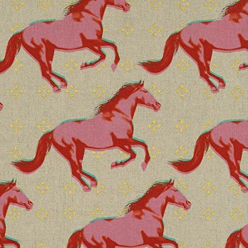 Cavallo in tela di cotone tessuto di cotone + acciaio-0,5metri-CS002Cavalli in rosa Teal Blu e oro metallizzato su taupe tessuto-Mustang Collection by Melody Miller, 50x 110cm