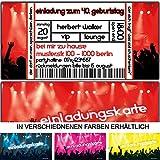 Einladungskarten als Eintrittskarte Konzert-Ticket zum Geburtstag Feier Party Mottoparty Musik Einladung Festival - 20 Stück Party-Einladung
