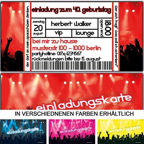 Einladungskarten als Eintrittskarte Konzert-Ticket zum Geburtstag Feier Party Mottoparty Musik Einladung Festival - 60 Stück (60. Geburtstag Party-einladungen)