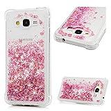 MAXFE.CO Schutzhülle Tasche Case für Samsung Galaxy Grand Prime G530/Samsung Galaxy J2 TPU Silikon Cover Herz Etui Protective Schale Bumper Pink