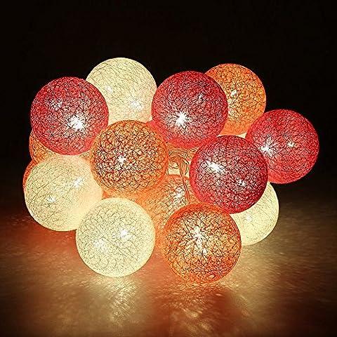 Morbuy Cotton Lichterketten, Wattebausch Lichterketten 6CM Ball Lights LED Lichterkette Festlich Hochzeiten Geburtstag Party 30 Baumwollkugeln LED Batterie Farbe Themen Lichterkette 4.8m (4.8M / 30 Lichter, Charming Red Rose)