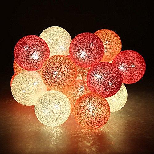 Morbuy Cotton Lichterketten, Wattebausch Lichterketten 6CM Ball Lights LED Lichterkette Festlich Hochzeiten Geburtstag Party 10 Baumwollkugeln LED Batterie Farbe Themen Lichterkette 1.8m (1.8M / 10 Lichter, Charming Red Rose) (Light Rose 6)