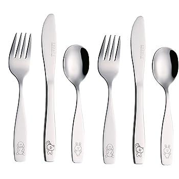 EXZACT Posate per bambini 6 pezzi in acciaio inox - 2 x forchetta, 2 x coltelli, 2 x Cucchiai Cena (Cane Gatto Coniglio x 6)