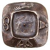 candelabro battesimo candeliere portacandela 15 cm * 15 cm simbolo bronzo nobile patina marrone