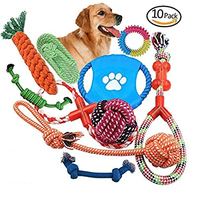 10 Set Pet Rope Toys, Chew Toys for Dogs Teeth Aids for Small to Large Pet Material Non-Toxic Tasteless Sturdy Durable