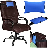 Acm Leather Cushion Pillow Head & Neck Rest Compatible with Office Chair Blue