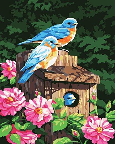 DIY Vorgedruckt Leinwand-Ölgemälde Geschenk für Erwachsene Kinder Malen Nach Zahlen Kits Home Haus Dekor - Drei Blaue Vögel 40*50 cm (Vögel Dekor Home)