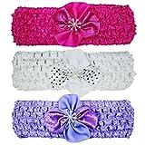 #6: Crochet Cutwork Flower Headband For Cute Baby (Pink, White, Purple) 3 Pcs Set
