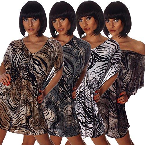 Fashion4Young - Robe - Taille empire - Femme multicolore Royalblau Multicolor 36/38 blanc/noir