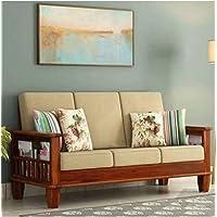 NK Furniture Solid sheesham Wood Standard Sofa Set 3 Seater Furniture Wooden 3 Seater Sofa Set with Cushions