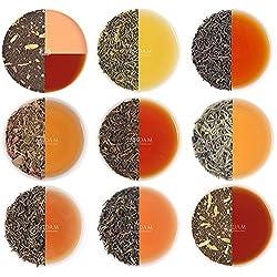 Gemischter Loose Leaf (lose Blätter) Tee Sampler - 10 TEES, 50 Portionen - Schwarzer Tee, Grüner Tee, Oolong Tee, Weißer Tee und Chai Tee, ein perfektes Tee Geschenk, 100g