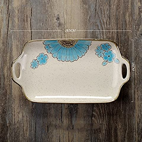 Creative ceramics,double ear plate/round,rectangle,double ear disc/dessert plate/dish dish-D