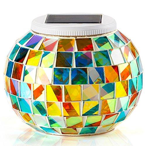 Lámpara Solar Mosaico GRDE Jarrón Decorativo Con Mosaico Colorido, Lámpara de Mesita de Noche, Iluminación Nocturna Romántica Para Salón, Jardín, Habitación, Terraza, Comedor (Multicolor)