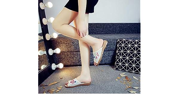 DESY Pfingstrose bestickte Schuhe, Sehnensohle, ethnischer Stil, weiblicher Flip Flop, Mode, bequem, Sandalen , black ash , 39