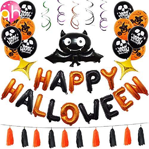 JLCP Halloween Bunting Banner Flag Bat Spooky Spiral Pendant Ballons Festliche Feier Party Liefert Dekoration Requisiten Indoor ()