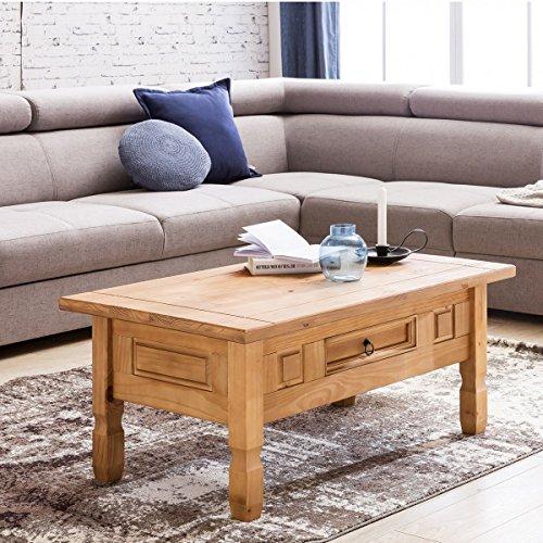 Table basse en bois de pin avec tiroir et poignée en métal 100x60x45cm bois massif | Table de salon dans le rustique mexicain de style champêtre | Petite table en bois massif dans un style campagnard