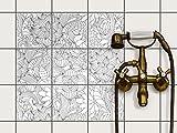 Fliesenfolie selbstklebend 15x15 cm 3x3 Design Flower Lines 2 (Muster & Ornamente) Klebefolie Küche Bad