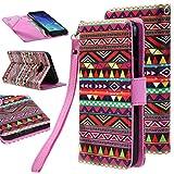 J7 case, Galaxy J7 Flip cover, E LV Samsung Galaxy J7 Flip Folio Wallet Case Cover – Deluxe PU Leather Flip Wallet Case Cover for Samsung Galaxy J7 – TRIBAL