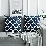 MIULEE 2er Pack Leinenoptik Home Dekorative Kissenbezug Geometrisches Kissen Kissenhülle für Sofa Schlafzimmer Auto mit Reißverschlüsse Navy blau 18 x 18 inch 45 x 45 cm