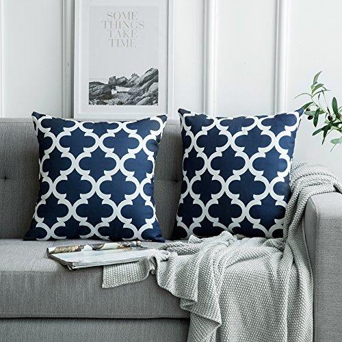 MIULEE 2er Pack Leinenoptik Home Dekorative Kissenbezug Geometrisches Kissen Kissenhülle für Sofa Schlafzimmer Auto mit Reißverschlüsse Navy blau 18 x 18 inch 45 x 45 cm -
