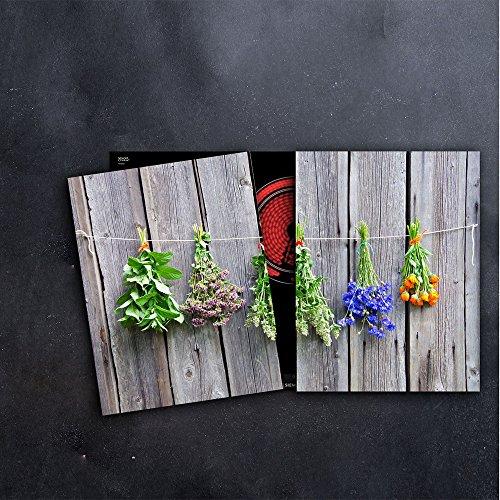 DAMU Herdabdeckplatten 2 x 40 x 52 cm Ceranfeldabdeckung Schutz Herdblende 80x52 2teilig Glas Spritzschutz Abdeckplatte Glasplatte Herd Ceranfeld Abdeckung Schneidebrett Gewürze Lavendel Holz (Gewürz-fach Holz)